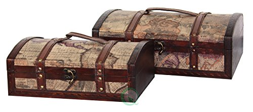 Old Map Decorative - Vintiquewise(TM) Old World Map Treasure Chest/Decorative Box, Set of 2