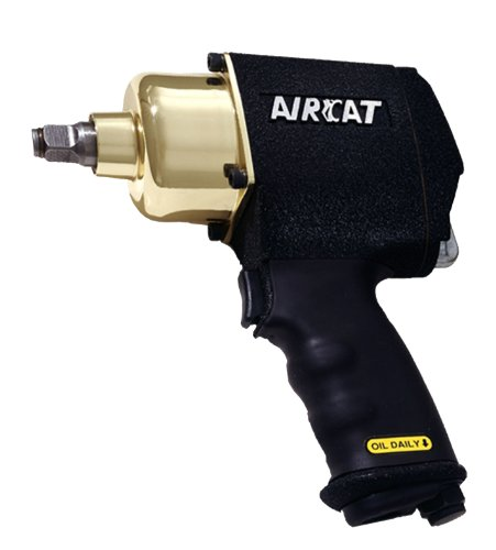 AIRCAT 1404-BG Original 1/2-Inch Black Brushed Aluminum Air Impact Wrench With Twin Hammer Mechanism by AirCat