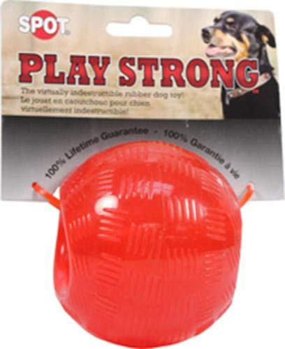 Ethical Pets Play Strong Virtually Indestructible Rubber Ball Dog Toy, 3.75-Inch
