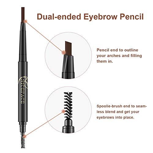3-in-1 Eyebrow Pencil Brow Stylist Definer, Waterproof, Sweat-proof, Smudge-proof and Long-lasting Brow Filler, Dark Brown/Light Brown/Coffee, 0.01 oz by NICEFACE (Image #3)