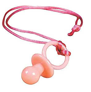 """OTC Educational Products - 12 pc Girl Baby Shower Pink Pacifier Necklace Game - 2"""" pink plastic pacifier on a 30"""" nylon cord."""