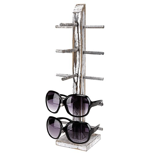 Rustic Whitewashed Wood 5 Pair Sunglasses Collections Display Stand, Tabletop Retail Eyewear Storage - Sunglasses Rack Stand
