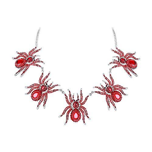 EVER FAITH Austrian Crystal Halloween Feast 5 Vivid Spiders Cool Animal Pendant Necklace Red Silver-Tone]()
