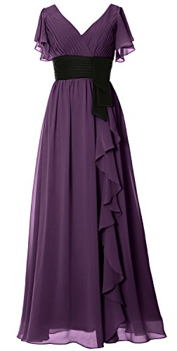 Neck Short Formal Long Women Sleeve Party MACloth Gown Dress Mother Bridesmaid Plum V 6nASwtx