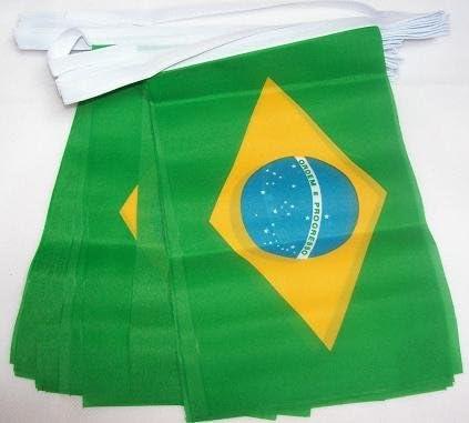 AZ FLAG Guirnalda 6 Metros 20 Banderas de Brasil 21x15cm - Bandera BRASILEÑA 15 x 21 cm - BANDERINES: Amazon.es: Hogar