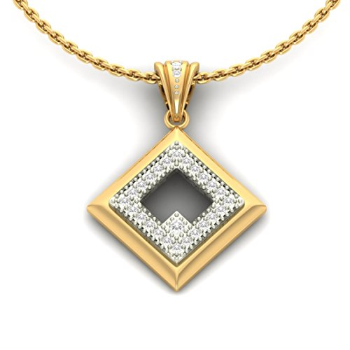 Or jaune 18K 0.17CT TW Round-cut-diamond (IJ   SI) diamant Pendentif