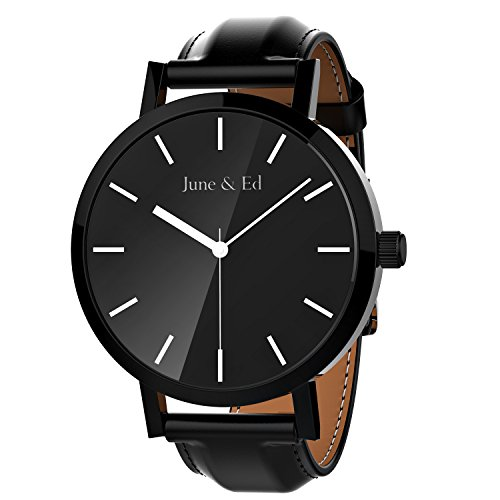 June & Ed Quarz Armbanduhr Herren Uhr Classic Edelstahl Leder-schwarz mit Saphir Kristall wählen Fenster W-0010