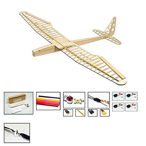 RC Glider Airplane Model Sunbird Electric Sailplane, 1.6M Wingspan Laser Cut RC Plane Fixed Wing Balsa Wood Glider Kit to Build, DIY 4CH Remote Radio Controlled Airplane Aircraft for Adults Hobby Fly
