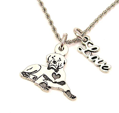 Heart Rottweiler - ChubbyChicoCharms Sitting Rottweiler with Heart Stainless Steel Rope Chain Necklace with White Crystal Accent
