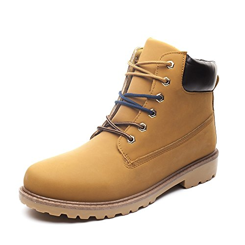 Leather Plain Boots - DRKA Men's Water Resistant Work Boots Comfortable Leather Plain Rubber Sole Industrial Construction Shoes for Male(17926-Wheat-44)