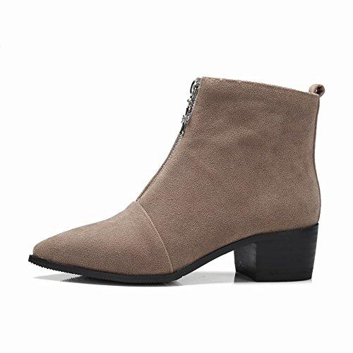 Charm Foot Womens New Chic Chunky Stivaletti Alla Caviglia Con Cerniera Albicocca