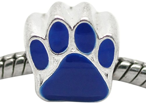 Dog Zable Bead - Buckets of Beads Blue Paw Charm Bead Fits Most Major Womens and Girls Charm Bracelets Troll Biagi Zable