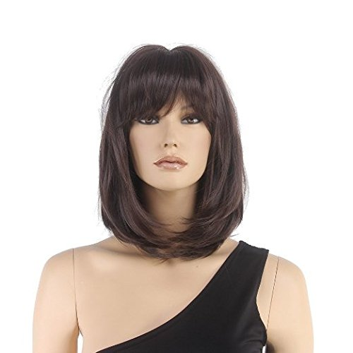 STfantasy Bob Wig Bangs Brown Shoulder Length Straight for Women Cosplay Costume Synthetic Hair (Shoulder Length Hair)