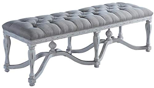 Henry Finial - EuroLuxHome Bed Bench King Henry White Ornate Wood Stretcher Finials Tufted Gray Linen Seat