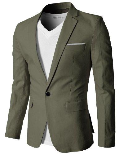 H2H Mens Fashion Linen Slim fit Blazer Jackets Khaki US L/Asia 3XL (KMOBL061)