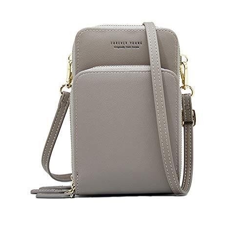 Stylish Small Crossbody Bag Shoulder Handbags Cell Phone Purse Wallet for Women (B-Grey)