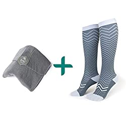 trtl Pillow & Trtl Socks Bundle - Scientifically Proven Super Soft Neck Support Travel Pillow & Trtl Compression Socks (Grey Pillow & Seattle Socks Size Large)