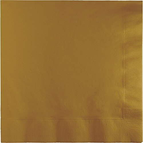 Creative Converting Touch of Color 2-Ply 50 Count Paper Lunch Napkins, Glittering Gold ()