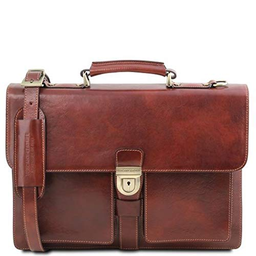 Tuscany Leather Assisi Leather briefcase 3 compartments Brown