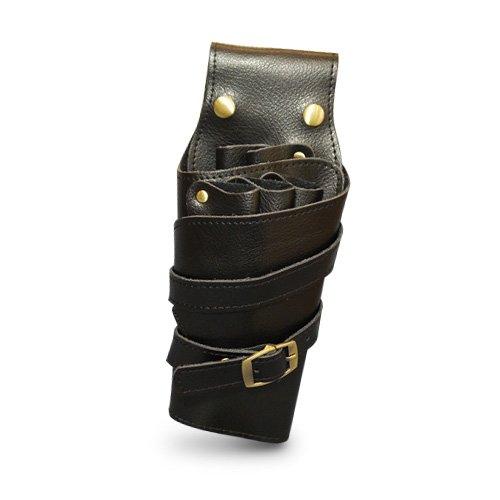 A Real Handicraft! High Grade Genuine Leather Scissors Bag Case 5 Pockets [ Dieppe / Black ] Professional Beautician Trimer ( Japan Import ) ()