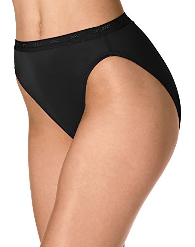 Bali Womens Full-Cut-Fit Hi-Cut Panty, 6, Black