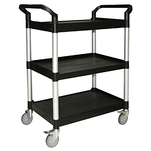 BUS CARTS BLACK & GREY MADE FOR CLEAN UP, TRANSPORT BINS WITH CASTERS AND LOCKING CASTERS (40.5'' X 19 3/4'' X 37 7/8'', Black) by Thunder Group