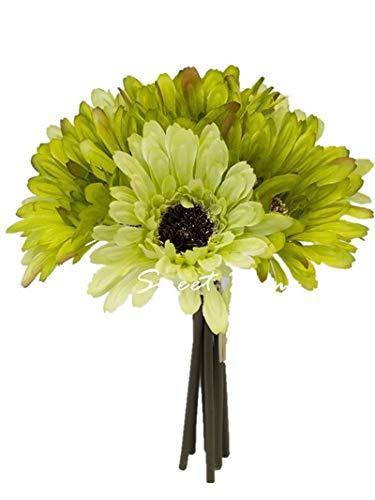 Sweet Home Deco 8'' Silk Artificial Gerbera Daisy Flower Bunch (W/ 7stems, 7 Flower Heads) Home/Wedding (Lime -