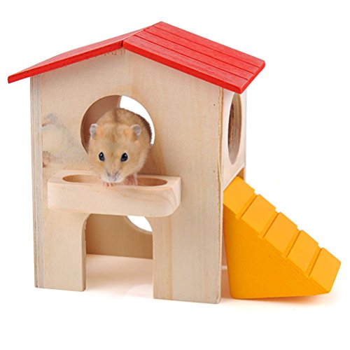Wooden Bed House Cage Dual Layer Villa for Rat Hamster Mouse - 5