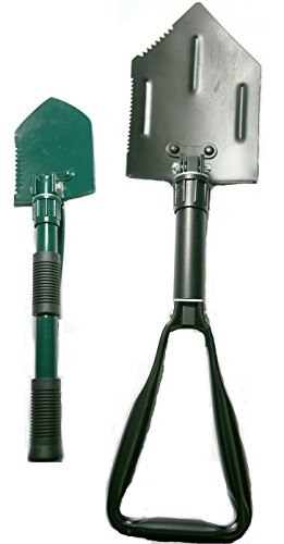 Black Emergency Disaster Tri-Folding Survival Entrenching Shovel Tool with Free Green Emergency Shovel (2 Free Black Pouches Included)