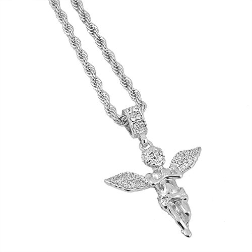 (Silver-Tone Hip Hop Bling Iced Out Stardust Wide Wing Angel with 3mm 24