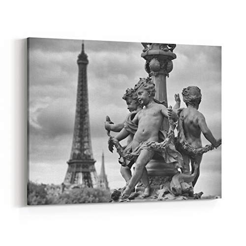 Rosenberry Rooms Canvas Wall Art Prints - Paris France Pont Alexandre III Bridge Statues of Cherubs On Street Lamp with Eiffel Tower in Black and White (48 x 32 inches)