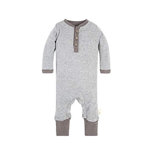 's Romper Jumpsuit, 100% Organic Cotton One-Piece Coverall, Henley Heather Grey, 3-6 Months ()
