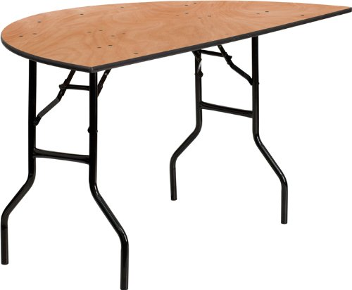 48' Wood Top Table (48'' Half Round Commercial Quality Wood Banquet Folding Table)