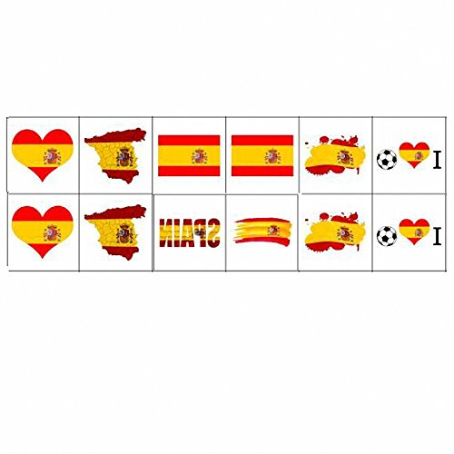 Dream Loom National Flag Tattoos, World Cup Temporary Tattoos,Russia 2018 Stickers Flag Stickers for Football Game Face Body Decor 12 Sheets (Spain) (Football Temporary Tattoos)