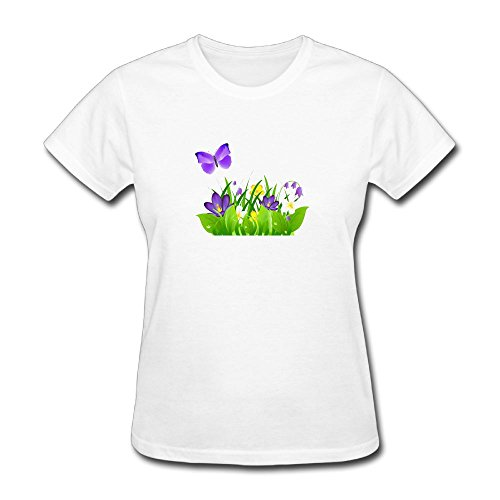 Grass Clipart - Madoling Butterfly Flower Clip Art - Purple Flowers Grass And Butterfly Personalized Short-Sleeve Tshirts Womens White Large