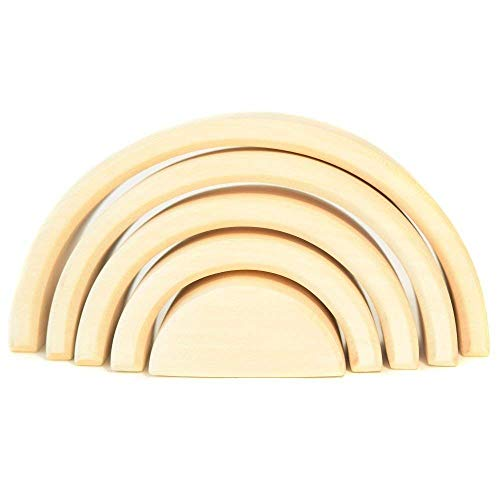 - WOODEN RAINBOW STACKER TOY Montessori Stacking Waldorf Nesting Puzzle for Creative Sculpture Building Tunnel Arches Block Stacker in Natural Wooden Rainbow Game Learning Toy Nesting Wood Blocks TOYS