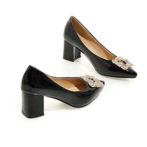 Latasa Womens Fashion Faux Patent-leather Pointed-Toe Mid Chunky Heel Dress Pumps Shoes Black BJSxfN