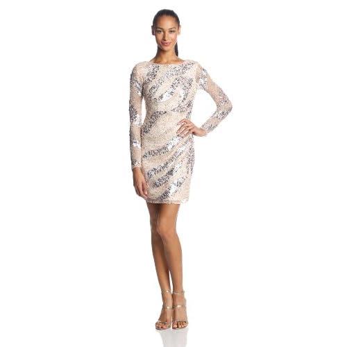 Adrianna Papell Women's Long Sleeve Short Beaded Cocktail Dress