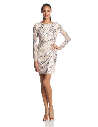 Adrianna Papell Women's Long Sleeve Short Beaded Cocktail Dress with Round Neck and V Back, Petal, 8