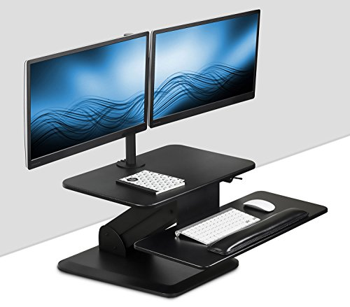 Mount-It! Sit Stand Workstation Standing Desk Converter With Dual Monitor Mount Combo, Ergonomic Height Adjustable Tabletop Desk, Black (Computer Desk With Monitor Mount)