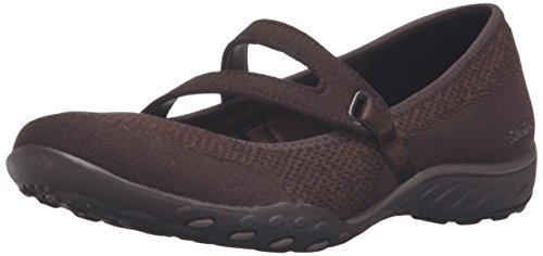 Sport Brown Flat Shoe (Skechers Sport Women's Breathe Easy Lucky Lady Mary Jane Flat,Chocolate Knit Mech/Brown Trim,7.5 M US)