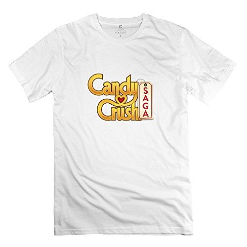Candy Crush Saga Cool 100% Cotton White T Shirts For Guys Size XXL