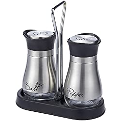 "Salt and Pepper Shakers Set - High Grade Stainless Steel with Glass Bottom and 4' Stand - 4"" x 6"" x 2"", 4 oz."