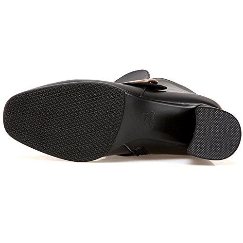 Nine Seven Genuine Leather Womens Square Toe Chunky Heel Side Zip Buckle Handmade Classic Mid Calf Boots Black FnPu46eMRE