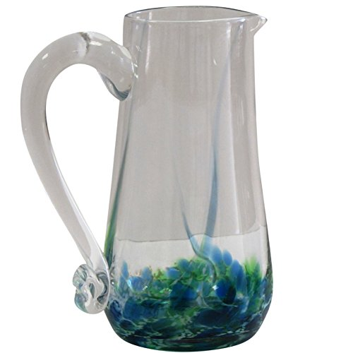 Irish Handmade Round Glass Pitcher with Handle by Jerpoint Glass Ireland. 9 inches tall with 40oz capacity (Green Seascape)
