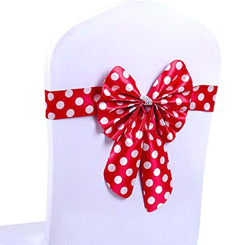 Newtrends Chair Bows Chair Covers Sashes with Crystal Polka Dot Ribbon for Wedding & Banquet Decoration(Pack of 10) (Red)