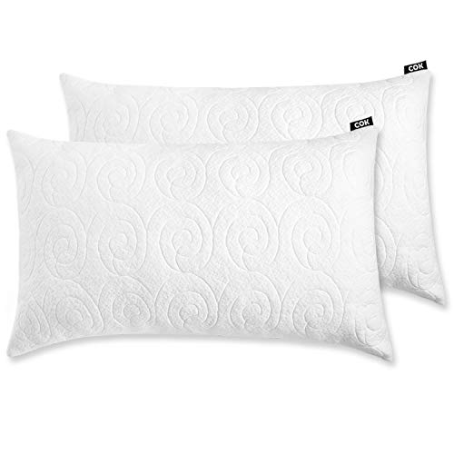 Cok Shredded Memory Foam Pillow, Adjustable Loft with Breathable Removable Bamboo Derived Rayon Cover (2 Pack, King)