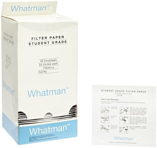 Whatman 1093-111 Quantitative Filter Paper Circles, 10 Micron, 7 s/100mL/in Flow Rate, Grade 93, 110mm Diameter (Pack of 1250) by Whatman