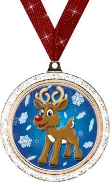 CHRISTMAS MEDALS - 2'' Silver Glitter Reindeer Medal 50 Pack by Crown Awards