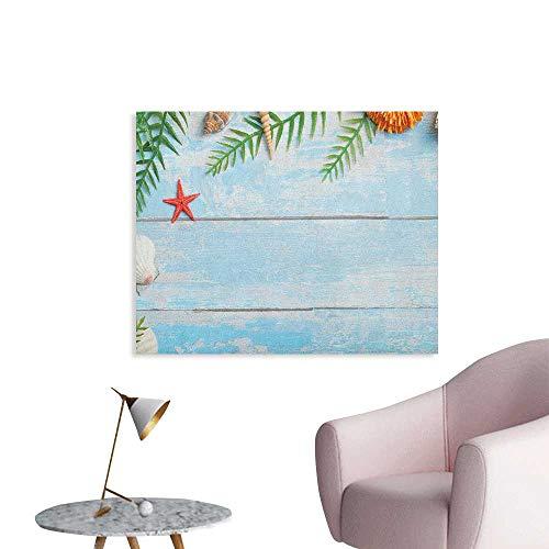 Anzhutwelve Seashells Wallpaper Star Fish Seashell Tropic Plants Leaves Seaweed Nautical Boat Marine The Office Poster Pale Blue Green Amber W28 -